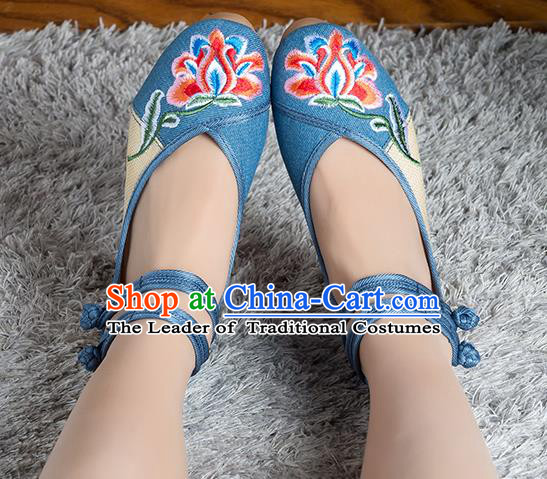 Traditional Chinese Shoes, China Handmade Linen Embroidered Peony Flowers Blue High-heeled Shoes, Ancient Princess Cloth Shoes for Women