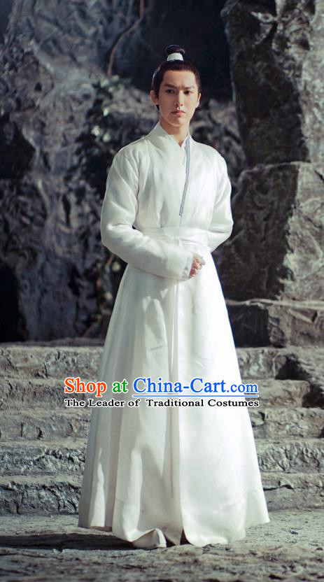 Traditional Ancient Chinese Elegant Swordsman Costume, Chinese Han Dynasty Jiang hu Taoist Priest Dress, Cosplay Chinese Teleplay Ten great III of peach blossom Role Young Justice Hanfu Clothing for Men