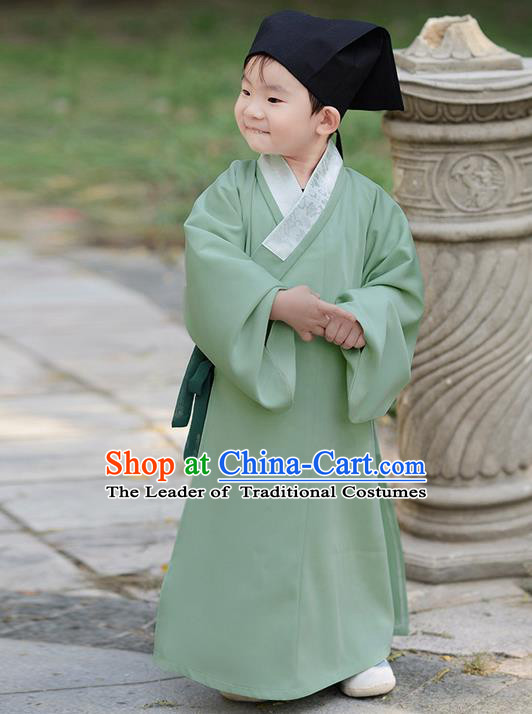 Traditional Ancient Chinese Children Elegant Costume Slant Opening Robe, Elegant Hanfu Clothing Chinese Han Dynasty Boys Scholar Clothing for Kids