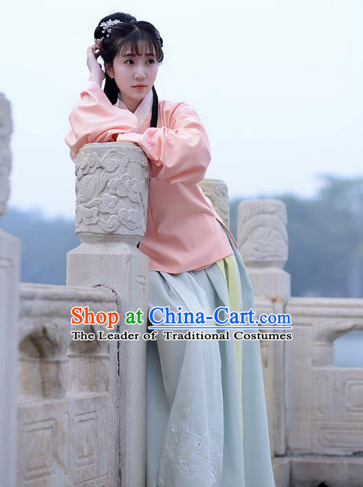 Traditional Ancient Chinese Young Lady Elegant Costume Slant Opening Blouse and Slip Skirt Complete Set, Elegant Hanfu Clothing Chinese Ming Dynasty Imperial Princess Clothing for Women