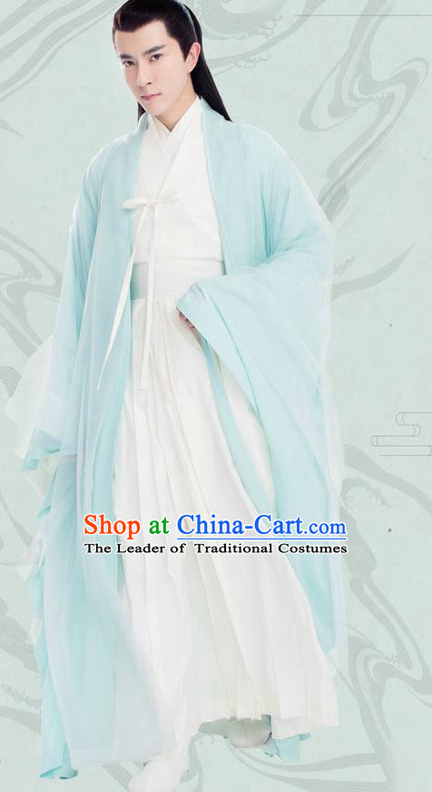 Traditional Chinese Ancient Nobility Childe Elegant Robes Clothing Costumes, Ancient Chinese Cosplay Teleplay Ten great III of peach blossom Role Swordsmen Roayl Prince Costume Complete Set for Men