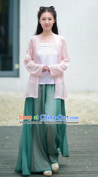 Traditional Ancient Chinese Young Lady Costume Embroidered Cardigan Boob Tube Top and Pants Complete Set, Elegant Hanfu Suits Clothing Chinese Song Dynasty Imperial Princess Dress Clothing for Women