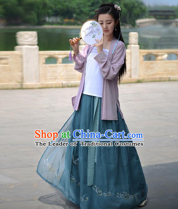 Traditional Ancient Chinese Young Lady Costume Embroidered Cardigan Blouse Boob Tube Top and Slip Skirt Complete Set, Elegant Hanfu Suits Clothing Chinese Song Dynasty Imperial Princess Dress Clothing for Women