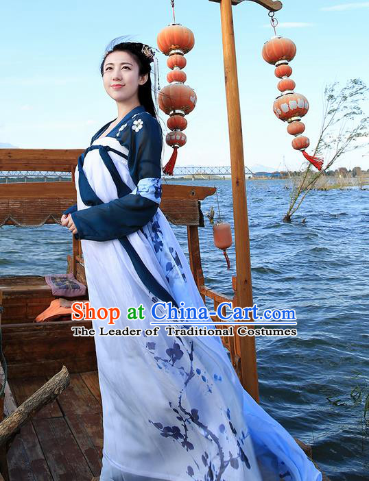 Traditional Ancient Chinese Young Lady Costume Embroidered Blouse and Ink Plum Blossom Slip Skirt Complete Set, Elegant Hanfu Suits Clothing Chinese Tang Dynasty Imperial Princess Dress Clothing for Women