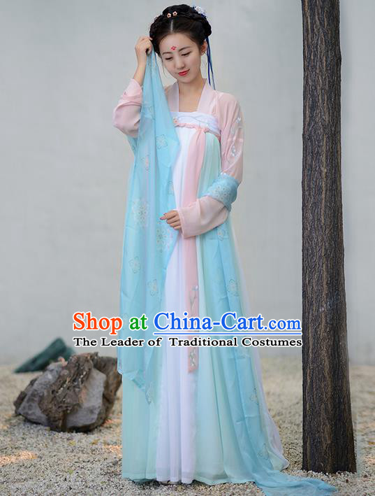 Traditional Ancient Chinese Young Lady Costume Embroidered White ...