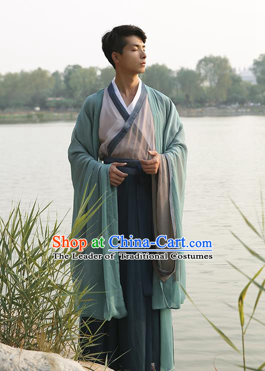 Traditional Ancient Chinese Elegant Costume Wide Sleeve Cardigan Slant Opening Blouse and Slip Skirt Complete Set, Elegant Hanfu Clothing Chinese Jin Dynasty Imperial Princess Clothing for Men