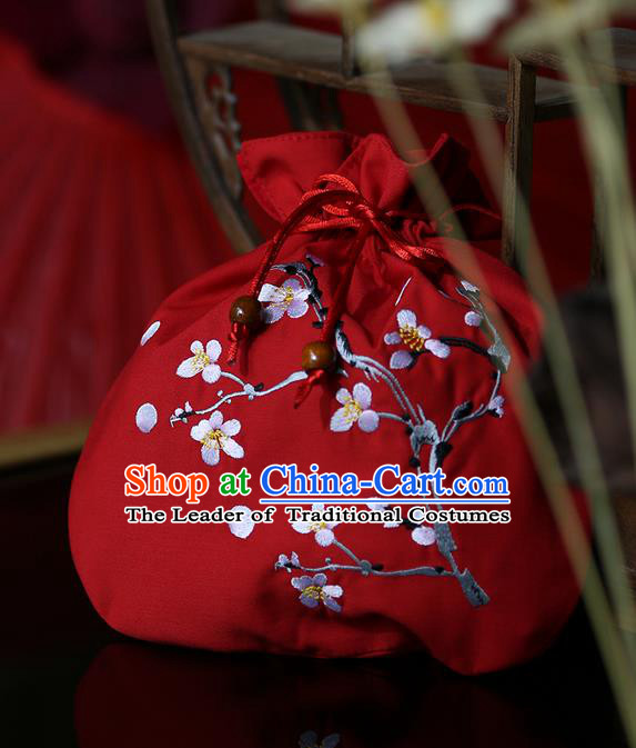 Traditional Ancient Chinese Young Lady Elegant Embroidered Wintersweet Red Handbags Cloth Bags for Women