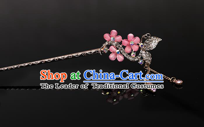 Traditional Handmade Chinese Ancient Classical Hair Accessories Bride Wedding Barrettes, Pink Hair Sticks Hair Jewellery, Hair Fascinators Hairpins for Women