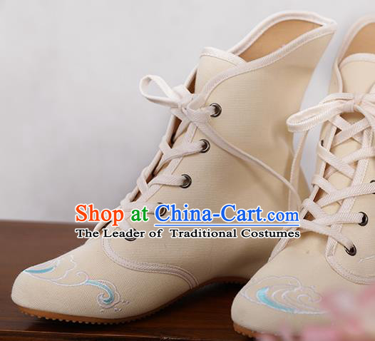Traditional Chinese Ancient Shoes, China Handmade Embroidered Beige Shoes, Princess Boots for Women