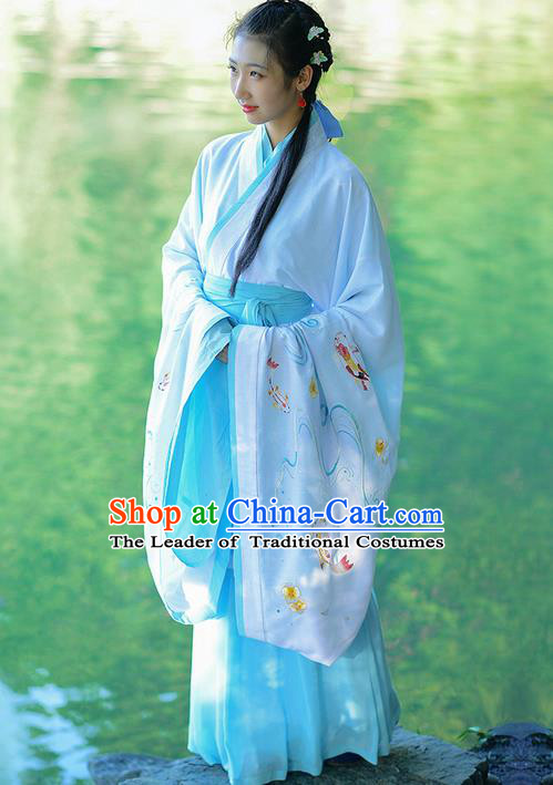 Traditional Ancient Chinese Young Lady Costume Embroidered White Song Fringing and Belt, Elegant Hanfu Curving-Front Unlined Garment Dress Chinese Han Dynasty Imperial Princess Dress Clothing for Women