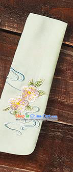 Traditional Ancient Chinese Young Lady Elegant Embroidered Peach Blossom Beige Snood Hairlace Bandeau for Women