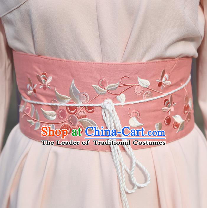 Traditional Ancient Chinese Young Lady Elegant Embroidered Pink Belt for Women