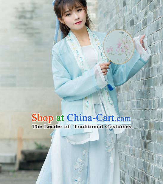 Traditional Ancient Chinese Young Lady Costume Embroidered BeiZi Blue Cardigan, Elegant Hanfu Cloak Clothing Chinese Ming Dynasty Imperial Princess Dress Clothing for Women