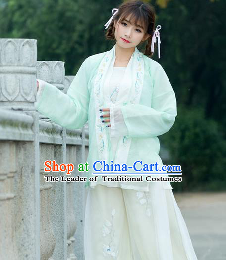 Traditional Ancient Chinese Young Lady Costume Embroidered BeiZi Green Cardigan, Elegant Hanfu Cloak Clothing Chinese Ming Dynasty Imperial Princess Dress Clothing for Women