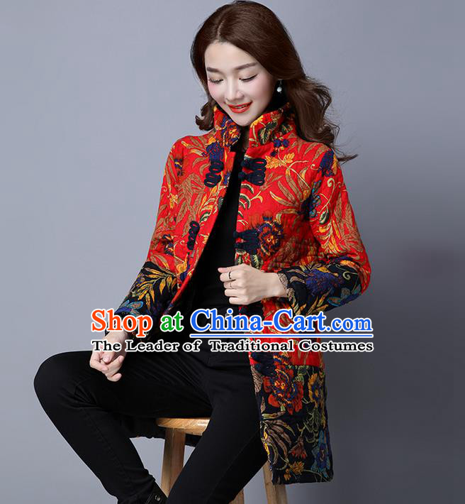 Traditional Chinese National Costume, Elegant Hanfu Stand Collar Cotton-padded Red Coat, China Tang Suit Plated Buttons Coats, Upper Outer Garment Jacket Clothing for Women