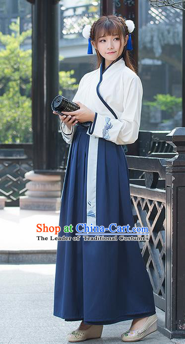 Traditional Ancient Chinese Young Lady Costume Embroidered Slant Opening Blouse and Slip Skirt, Elegant Hanfu Suits Clothing Chinese Ming Dynasty Imperial Princess Dress Clothing for Women