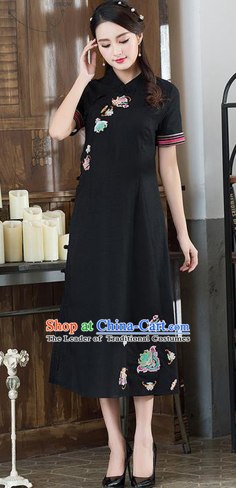 Traditional Ancient Chinese National Costume, Elegant Hanfu Mandarin Qipao Embroidered Black Dress, China Tang Suit Cheongsam Upper Outer Garment Elegant Dress Clothing for Women
