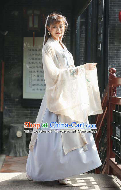 Traditional Ancient Chinese National Costume, Elegant Hanfu Embroidery Wide Sleeve Cardigan Coat, China Plated Buttons Cape, Upper Outer Garment Dust Coat Cloak Clothing for Women