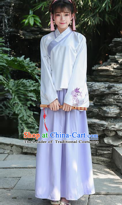 Traditional Ancient Chinese Costume, Elegant Hanfu Clothing Embroidered Slant Opening Blouse and Dress, China Ming Dynasty Princess Elegant Blouse and Slip Skirt Complete Set for Women