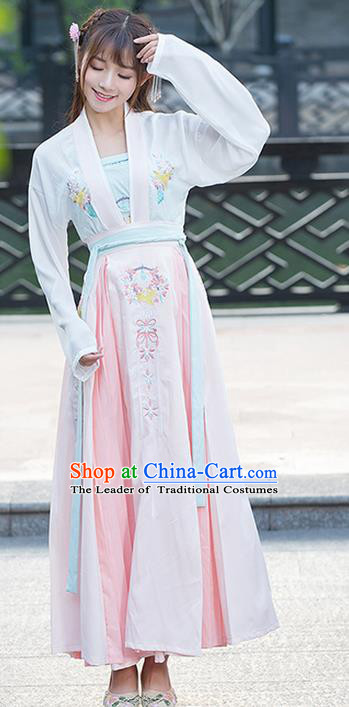Traditional Ancient Chinese Costume, Elegant Hanfu Clothing Embroidered Dress, China Ming Dynasty Princess Elegant Slip Bust Skirt for Women