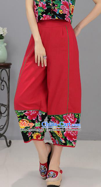 Traditional Chinese National Costume Northeast Cloth Plus Fours, Elegant Hanfu Printing Peony Red Bloomers, China Ethnic Minorities Tang Suit Pantalettes for Women