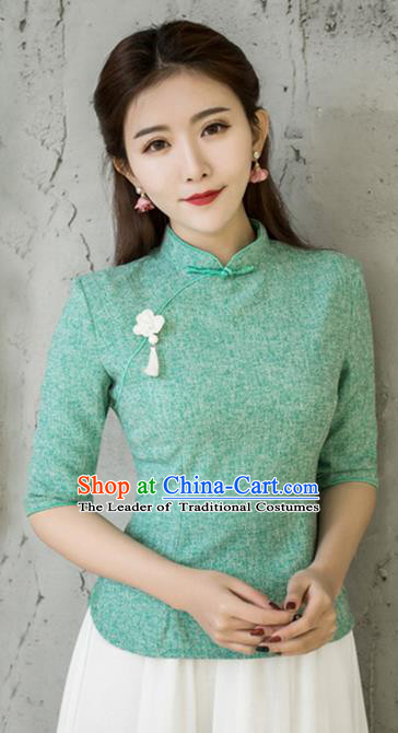 Traditional Chinese National Costume, Elegant Hanfu Embroidery Slant Opening Green Blouses, China Tang Suit Republic of China Plated Buttons Chirpaur Blouse Cheong-sam Upper Outer Garment Qipao Shirts Clothing for Women