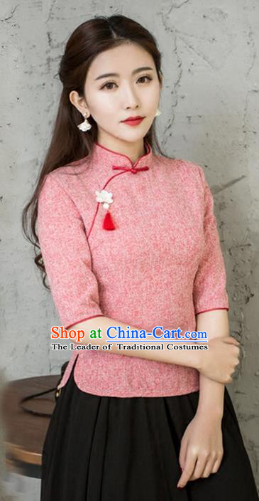 Traditional Chinese National Costume, Elegant Hanfu Embroidery Slant Opening Red Blouses, China Tang Suit Republic of China Plated Buttons Chirpaur Blouse Cheong-sam Upper Outer Garment Qipao Shirts Clothing for Women