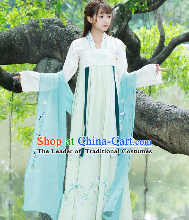 Traditional Ancient Chinese Young Lady Costume Embroidered Green Wearing Silks, Elegant Hanfu Clothing Chinese Tang Dynasty Imperial Princess Brocade Scarf for Women