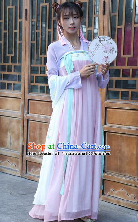 Traditional Ancient Chinese Young Lady Costume Embroidered Blouse and Tube Slip Skirt Complete Set, Elegant Hanfu Suits Clothing Chinese Tang Dynasty Imperial Princess Dress Clothing for Women