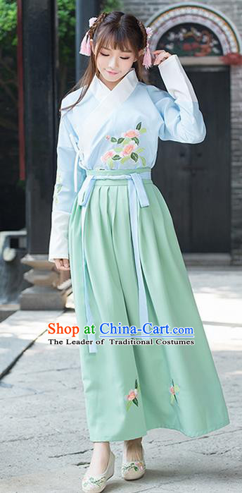 Traditional Ancient Chinese Young Lady Costume Embroidered Slip Skirt, Elegant Hanfu Suits Clothing Chinese Tang Dynasty Imperial Princess Bust Skirts for Women