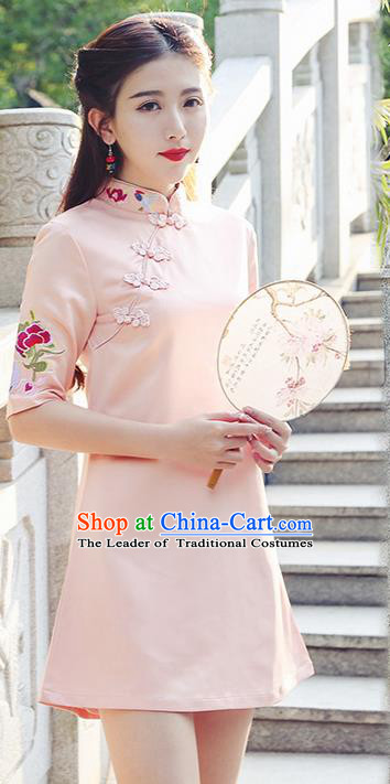 Traditional Ancient Chinese National Costume, Elegant Hanfu Mandarin Qipao Embroidered Pink Short Dress, China Tang Suit Chirpaur Republic of China Cheongsam Upper Outer Garment Elegant Dress Clothing for Women