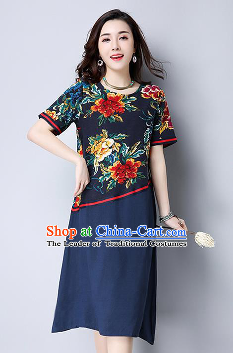 Traditional Ancient Chinese National Costume, Elegant Hanfu Printing Navy Dress, China Tang Suit Chirpaur Garment Elegant Dress Clothing for Women