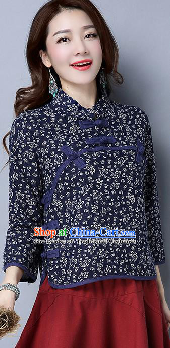 Traditional Chinese National Costume, Elegant Hanfu Embroidery Flowers Slant Opening Blue Shirt, China Tang Suit Plated Buttons Chirpaur Blouse Cheong-sam Upper Outer Garment Qipao Shirts Clothing for Women