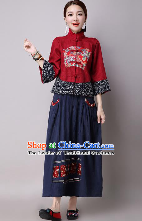 Traditional Ancient Chinese National Costume, Elegant Hanfu Embroidered Red Coat, China Tang Suit Plated Buttons Jacket, Upper Outer Garment Blouse Shirts Clothing for Women