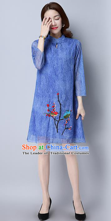 Traditional Ancient Chinese National Costume, Elegant Hanfu Mandarin Qipao Printing Blue Dress, China Tang Suit Cheongsam Upper Outer Garment Elegant Dress Clothing for Women