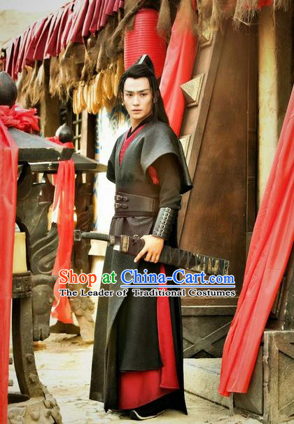 Traditional Ancient Chinese Elegant General Costume, Chinese Nobility General Armour Dress, Cosplay Chinese Television Drama Vagabondize Swordsman Chinese Ming Dynasty Prince Hanfu Clothing for Men