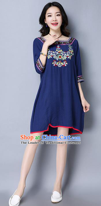 Traditional Chinese National Costume, Elegant Hanfu Embroidered Navy Dress, China Tang Suit Chirpaur Upper Outer Garment Elegant Dress Clothing for Women