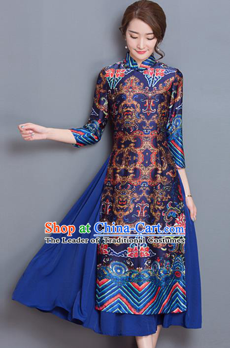 Traditional Chinese National Costume, Elegant Hanfu Embroidered Ao Dai Pattern Navy Dress, China Tang Suit Chirpaur Upper Outer Garment Elegant Dress Clothing for Women
