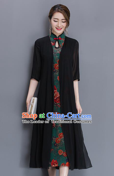 Traditional Ancient Chinese National Costume, Elegant Hanfu Mandarin Qipao Pattern Printing Dress, China Tang Suit Chirpaur Republic of China Cheongsam Upper Outer Garment Elegant Dress Clothing for Women