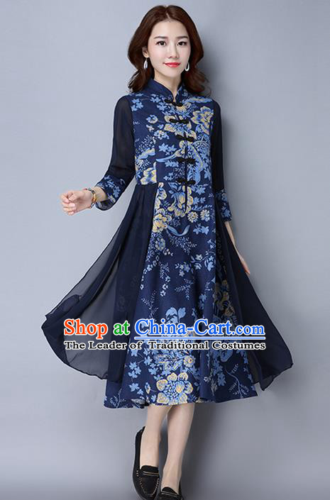 Traditional Chinese National Costume, Elegant Hanfu Linen Plated Buttons Royalblue Cheongsam Dress, China Tang Suit Cheongsam Upper Outer Garment Elegant Dress Clothing for Women