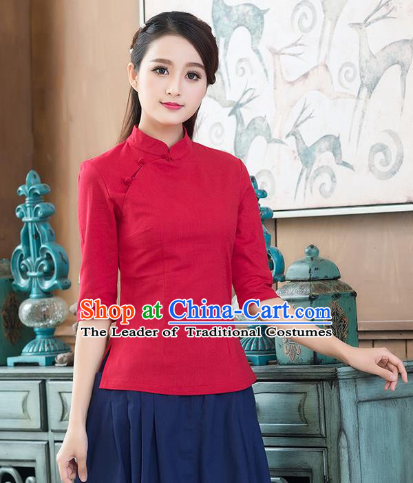 Traditional Chinese National Costume, Elegant Hanfu Linen Plated Buttons Stand Collar Red Blouse, China Tang Suit Cheongsam Shirts Upper Outer Garment Elegant Blouses for Women