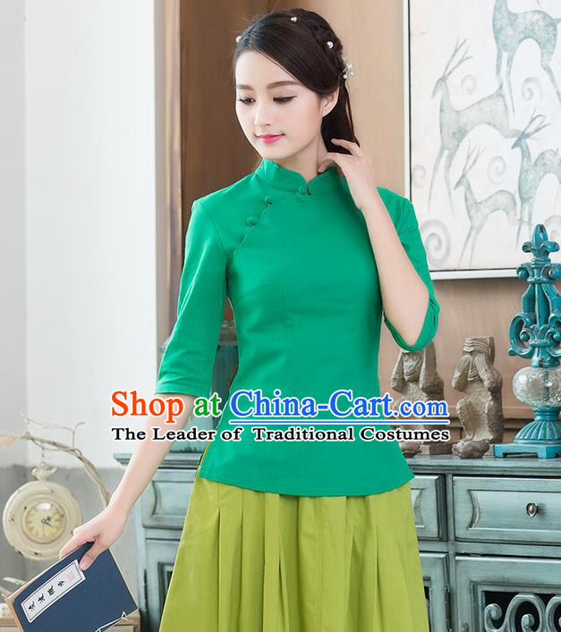 Traditional Chinese National Costume, Elegant Hanfu Linen Plated Buttons Stand Collar Green Blouse, China Tang Suit Cheongsam Shirts Upper Outer Garment Elegant Blouses for Women