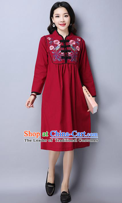 Traditional Ancient Chinese National Costume, Elegant Hanfu Mandarin Qipao Linen Embroidery Red Dress, China Tang Suit Upper Outer Garment Elegant Dress Clothing for Women