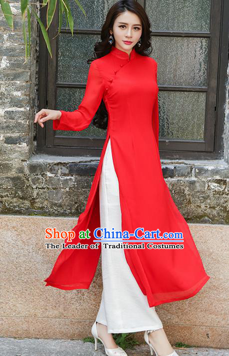 Traditional Ancient Chinese National Costume, Elegant Hanfu Mandarin Qipao Red Ao Dai High Split Cheongsam Dress, China Tang Suit Upper Outer Garment Elegant Dress Clothing for Women