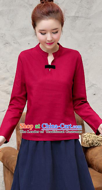 Traditional Chinese National Costume, Elegant Hanfu Stand Collar Red T-Shirt, China Tang Suit Republic of China Plated Buttons Chirpaur Blouse Cheong-sam Upper Outer Garment Qipao Shirts Clothing for Women