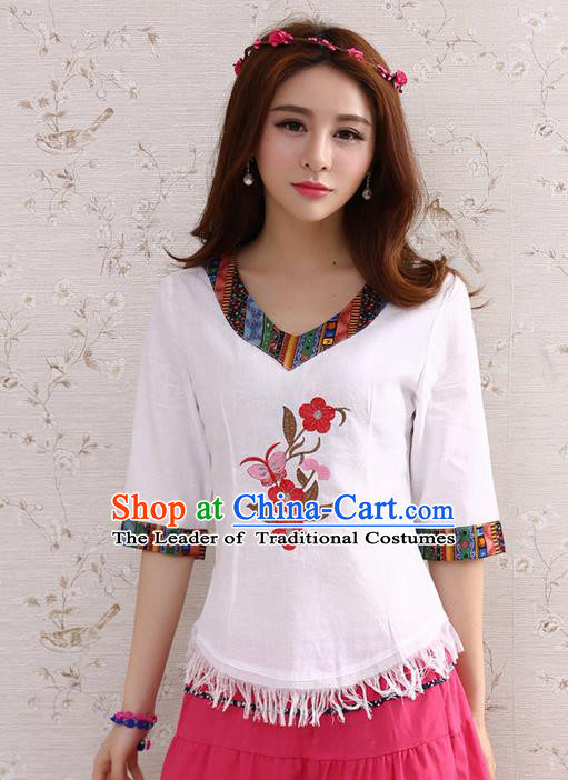 Traditional Chinese National Costume, Elegant Hanfu Embroidery Flowers T-Shirt, China Tang Suit Republic of China Plated Buttons Chirpaur Blouse Cheong-sam Upper Outer Garment Qipao Shirts Clothing for Women