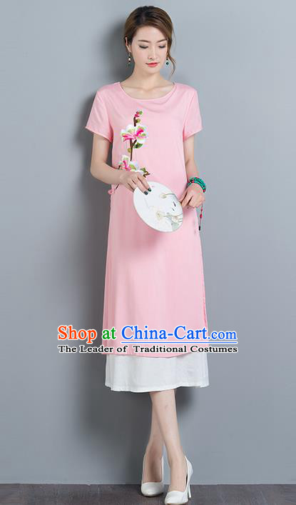 Traditional Ancient Chinese National Costume, Elegant Hanfu Qipao Embroidered Pink Dress, China Tang Suit Cheongsam Upper Outer Garment Elegant Dress Clothing for Women