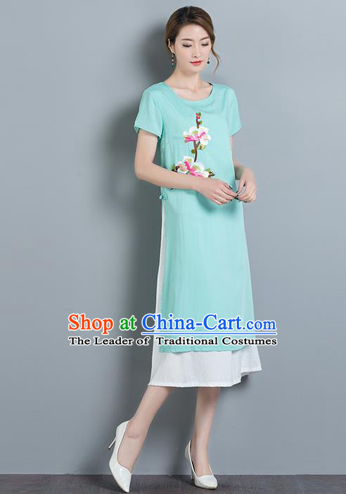 Traditional Ancient Chinese National Costume, Elegant Hanfu Qipao Embroidered Blue Dress, China Tang Suit Cheongsam Upper Outer Garment Elegant Dress Clothing for Women