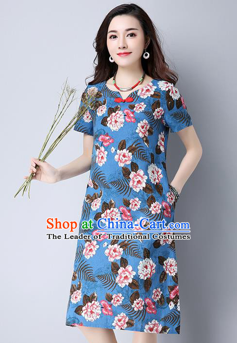 Traditional Ancient Chinese National Costume, Elegant Hanfu Qipao Printing Blue Dress, China Tang Suit Cheongsam Upper Outer Garment Elegant Dress Clothing for Women