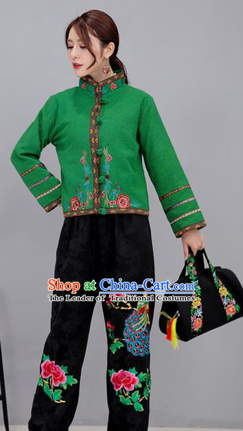 Traditional Ancient Chinese National Costume, Elegant Hanfu Stand Collar Embroidered Green Short Coat, China Tang Suit Plated Buttons Jacket, Upper Outer Garment Coat Clothing for Women